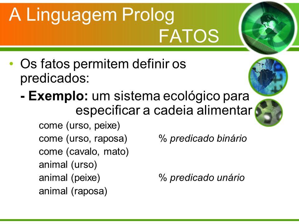 A Linguagem Prolog FATOS Os fatos permitem definir os predicados: - Exemplo: um sistema ecológico para especificar a cadeia alimentar come (urso, peix
