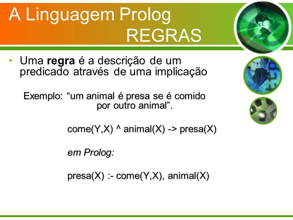 A Linguagem Prolog REGRAS Uma regra é a descrição de um predicado através de uma implicação Exemplo: um animal é presa se é comido por outro animal. c