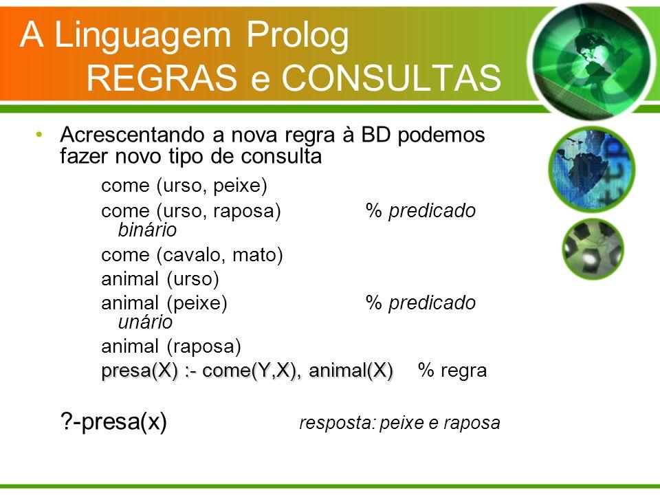 A Linguagem Prolog REGRAS e CONSULTAS Acrescentando a nova regra à BD podemos fazer novo tipo de consulta come (urso, peixe) come (urso, raposa)% pred