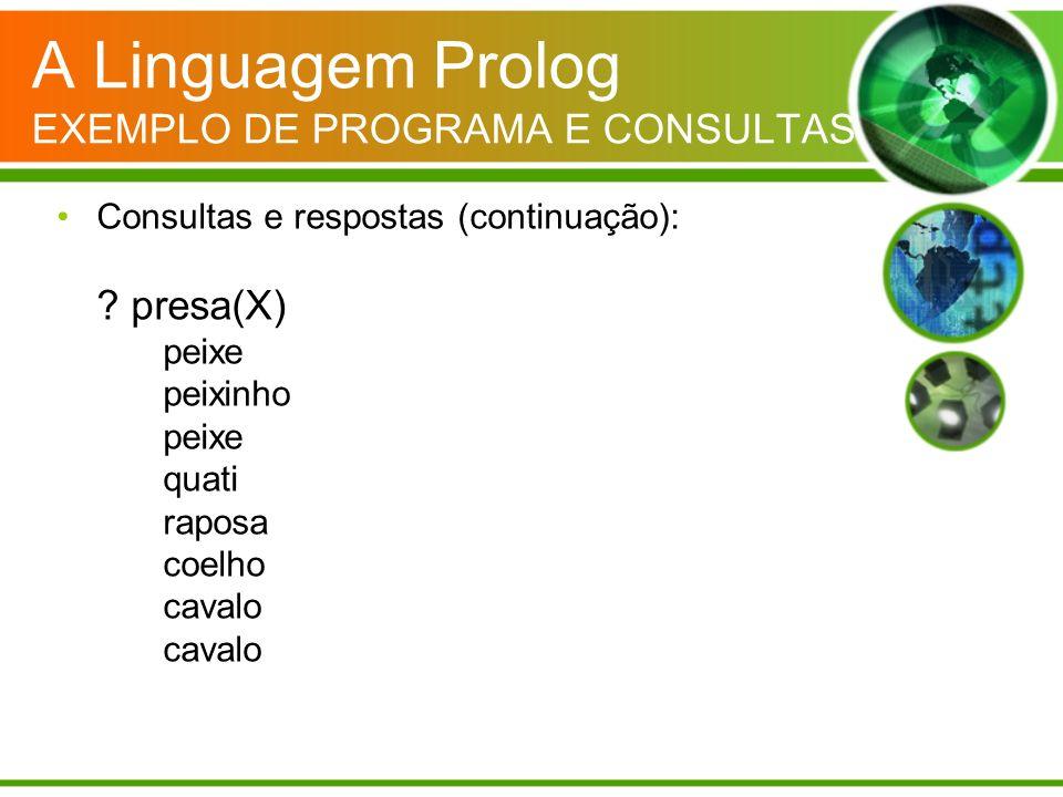 A Linguagem Prolog EXEMPLO DE PROGRAMA E CONSULTAS Consultas e respostas (continuação): ? presa(X) peixe peixinho peixe quati raposa coelho cavalo