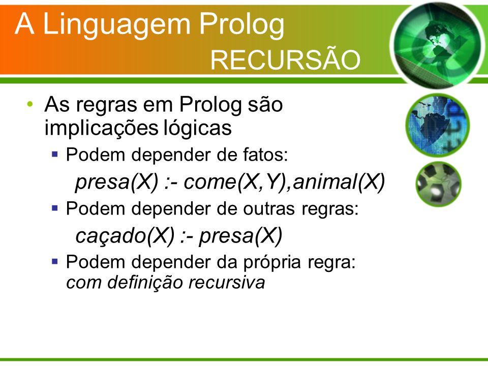 A Linguagem Prolog RECURSÃO As regras em Prolog são implicações lógicas Podem depender de fatos: presa(X) :- come(X,Y),animal(X) Podem depender de out