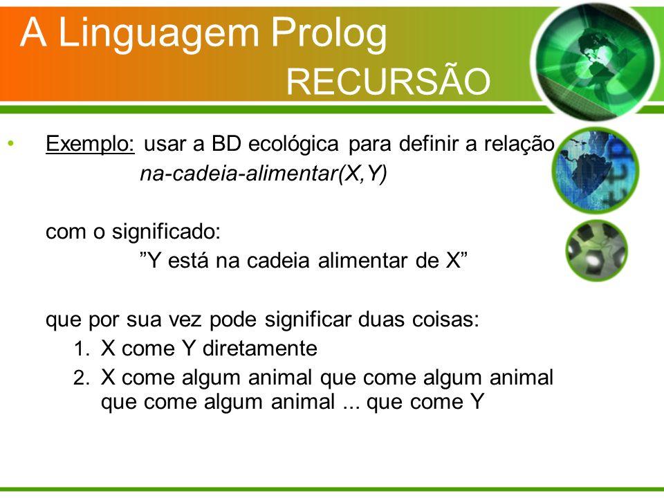 A Linguagem Prolog RECURSÃO Exemplo: usar a BD ecológica para definir a relação na-cadeia-alimentar(X,Y) com o significado: Y está na cadeia alimentar