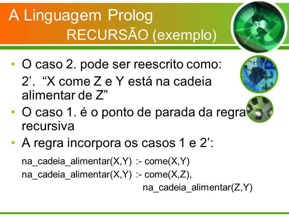 A Linguagem Prolog RECURSÃO (exemplo) O caso 2. pode ser reescrito como: 2. X come Z e Y está na cadeia alimentar de Z O caso 1. é o ponto de parada d