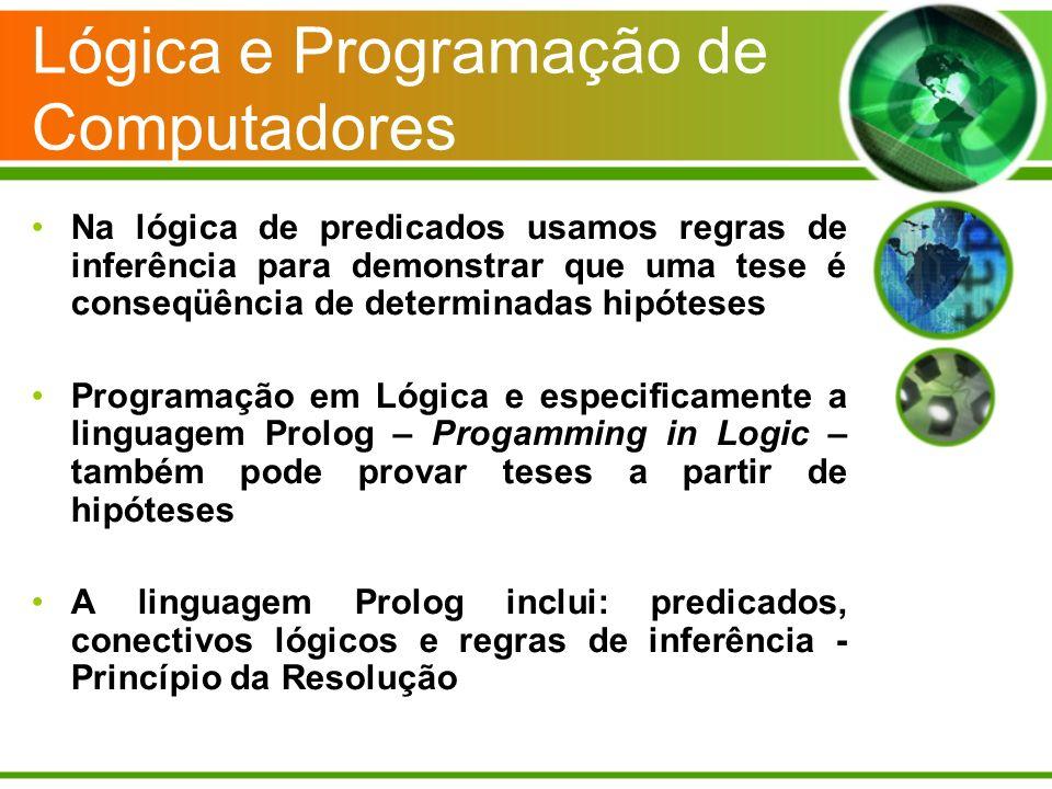 Lógica e Programação de Computadores Na lógica de predicados usamos regras de inferência para demonstrar que uma tese é conseqüência de determinadas h