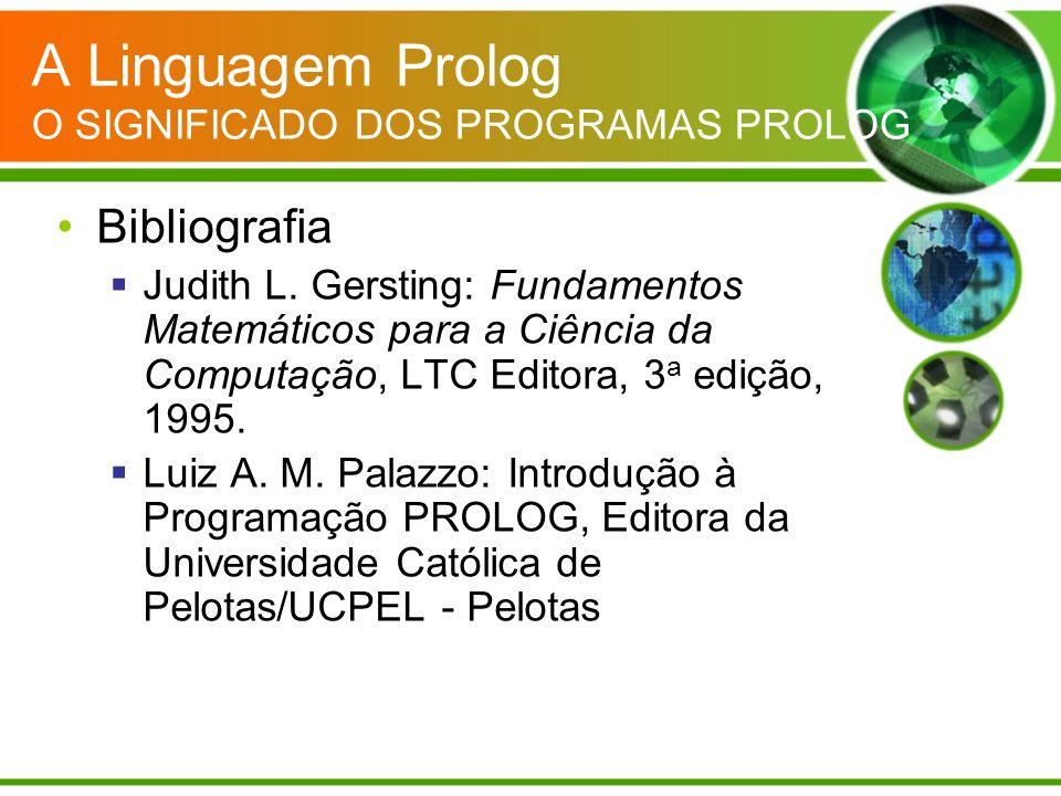 A Linguagem Prolog O SIGNIFICADO DOS PROGRAMAS PROLOG Bibliografia Judith L. Gersting: Fundamentos Matemáticos para a Ciência da Computação, LTC Edito
