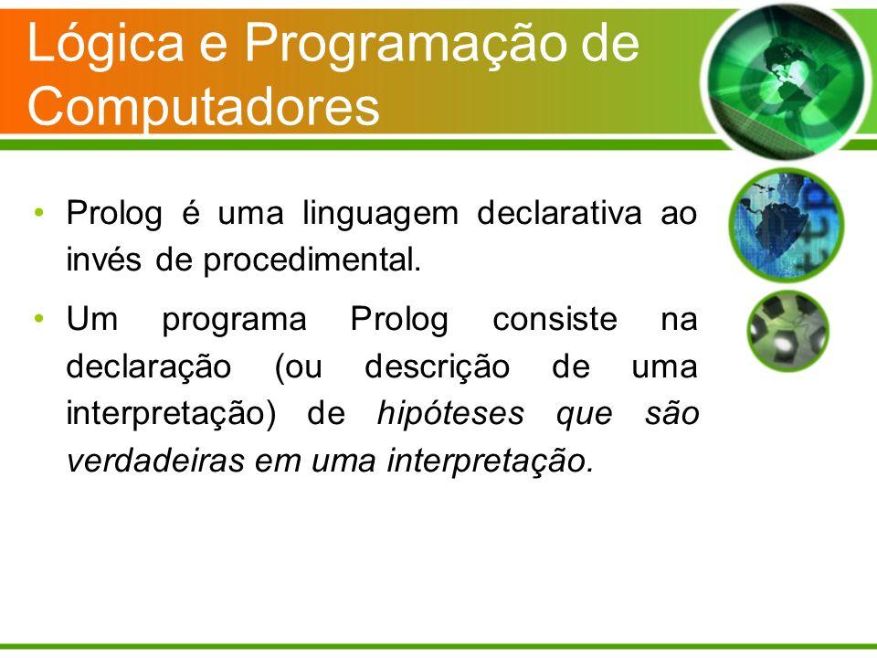 Lógica e Programação de Computadores Prolog é uma linguagem declarativa ao invés de procedimental. Um programa Prolog consiste na declaração (ou descr