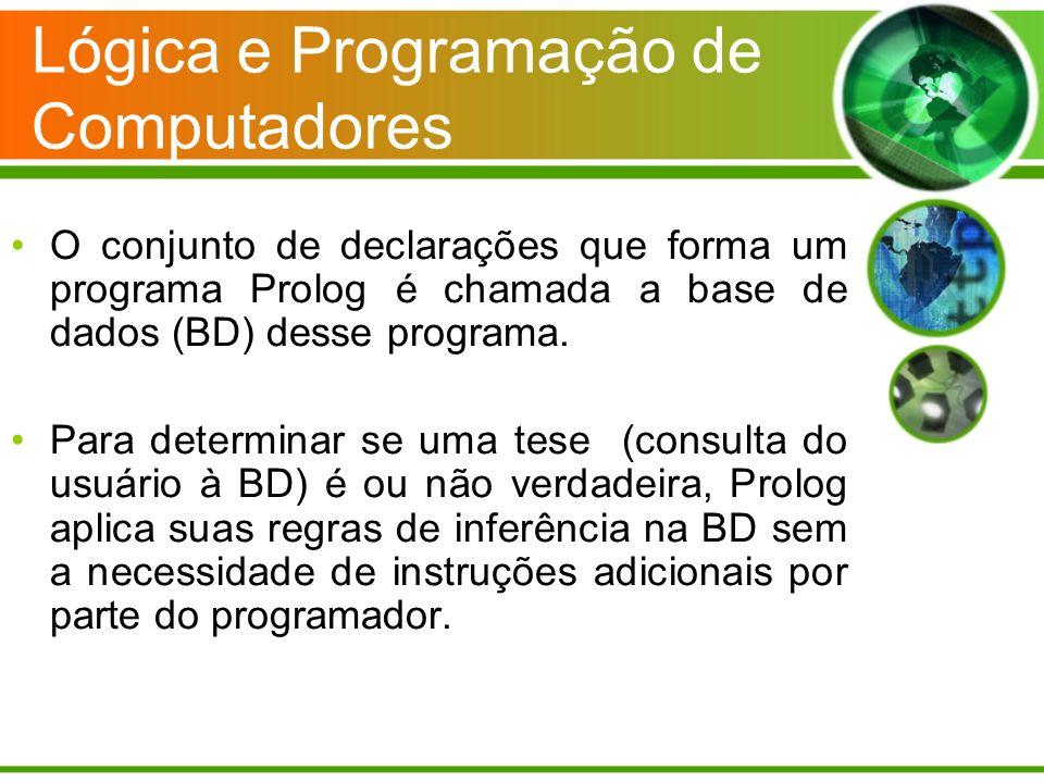 Lógica e Programação de Computadores O conjunto de declarações que forma um programa Prolog é chamada a base de dados (BD) desse programa. Para determ