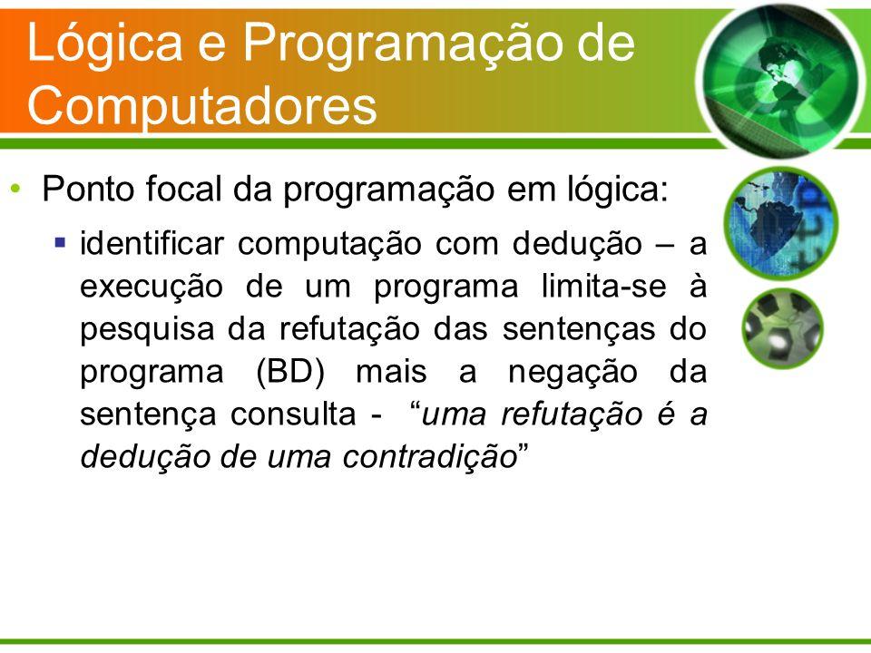 Lógica e Programação de Computadores Ponto focal da programação em lógica: identificar computação com dedução – a execução de um programa limita-se à