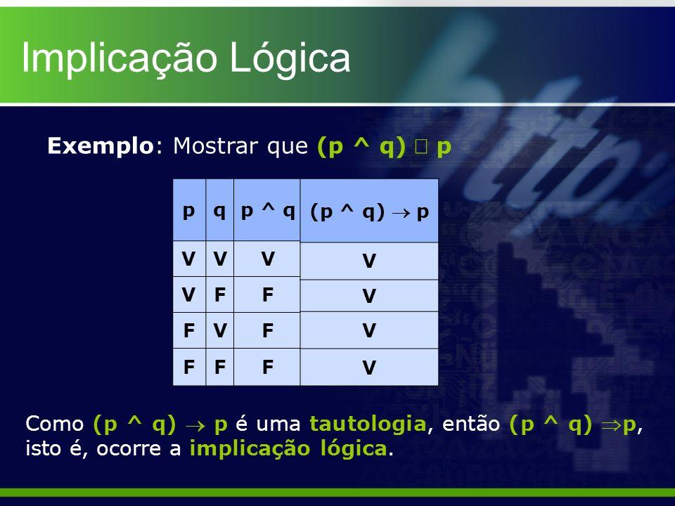 Implicação Lógica Exemplo: Mostrar que (p ^ q) p pqp ^ q VVV VFF FVF FFF Como (p ^ q) p é uma tautologia, então (p ^ q) p, isto é, ocorre a implicação