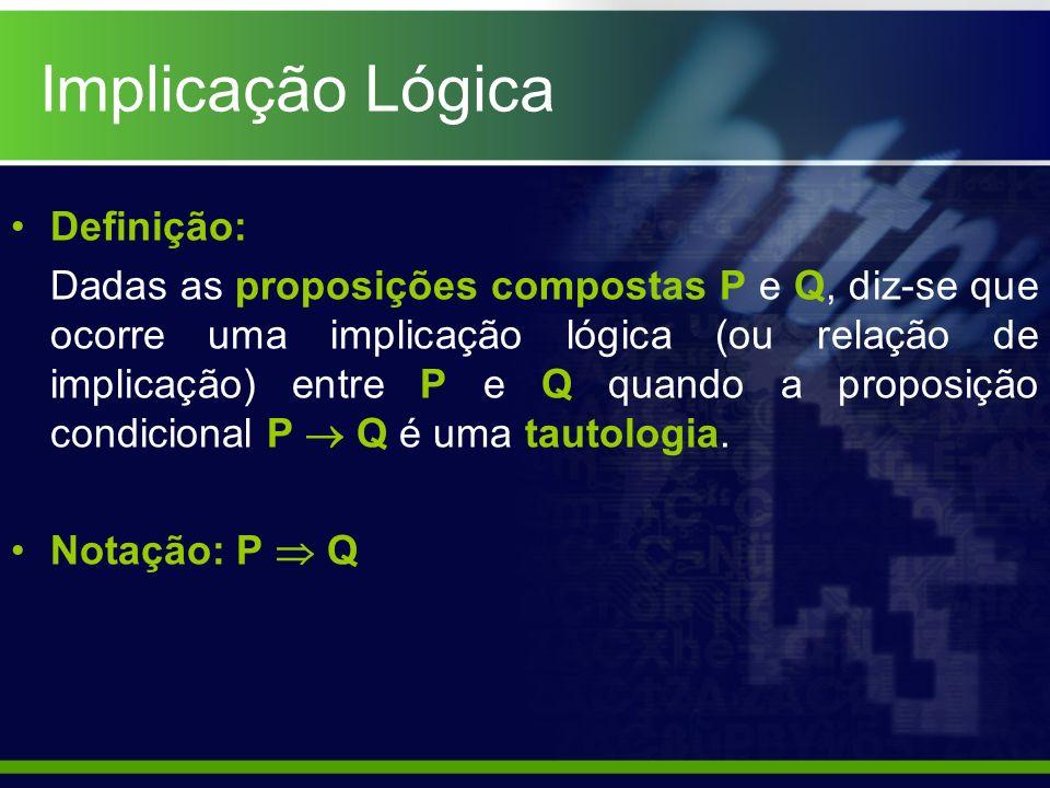 Definição: Dadas as proposições compostas P e Q, diz-se que ocorre uma implicação lógica (ou relação de implicação) entre P e Q quando a proposição co