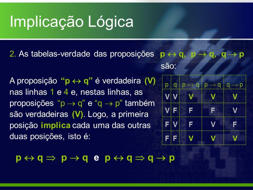 2. As tabelas-verdade das proposições p q, p q, q p são: pq p q q p V V F F p q p q e p q q p F V F V F V V F F V V V V V V F A proposição p q é verda