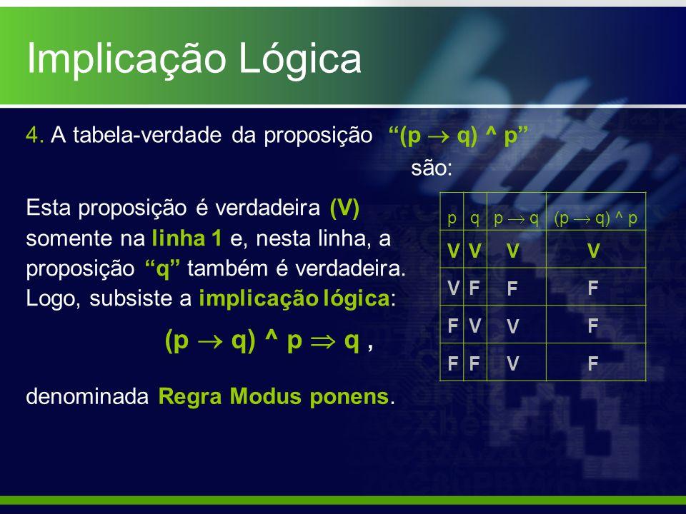 4. A tabela-verdade da proposição (p q) ^ p são: pq p q(p q) ^ p V V F F (p q) ^ p q, denominada Regra Modus ponens. F V F V F V V V F V F F Esta prop