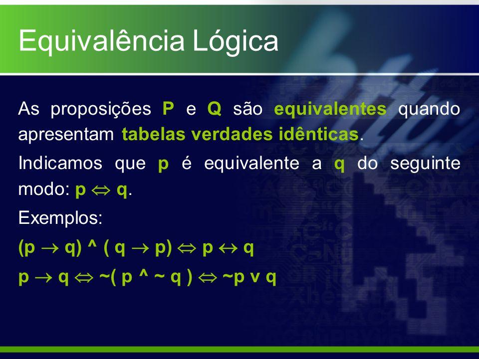 Equivalência Lógica As proposições P e Q são equivalentes quando apresentam tabelas verdades idênticas. Indicamos que p é equivalente a q do seguinte