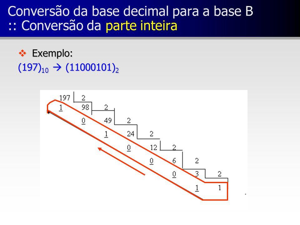 Conversão da base decimal para a base B :: Conversão da parte inteira v Exemplo: (197) 10 (11000101) 2