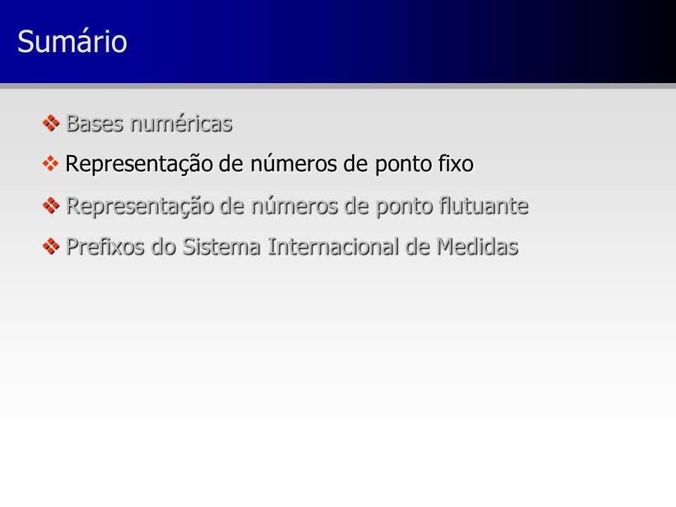 Sumário vBases numéricas vRepresentação de números de ponto fixo vRepresentação de números de ponto flutuante vPrefixos do Sistema Internacional de Me