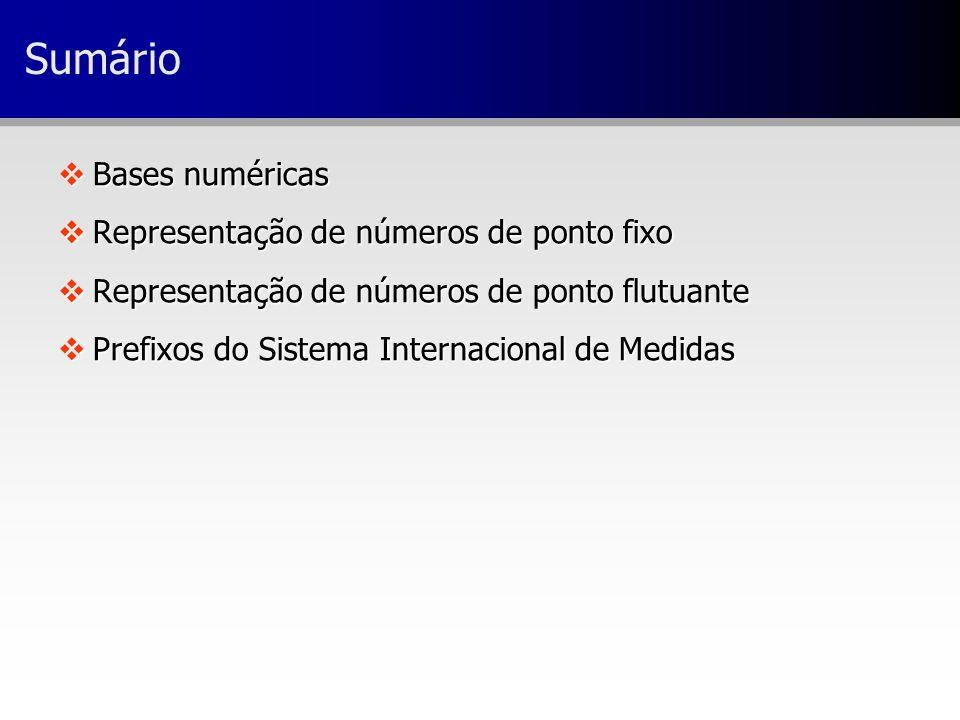vBases numéricas vRepresentação de números de ponto fixo vRepresentação de números de ponto flutuante vPrefixos do Sistema Internacional de Medidas Su