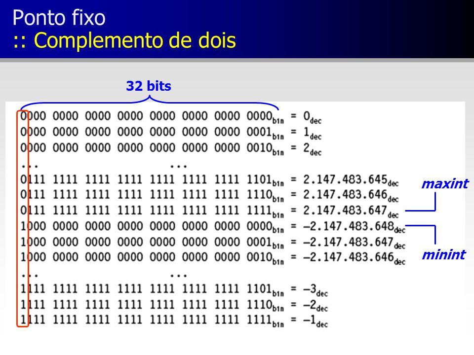 Ponto fixo :: Complemento de dois maxint minint 32 bits