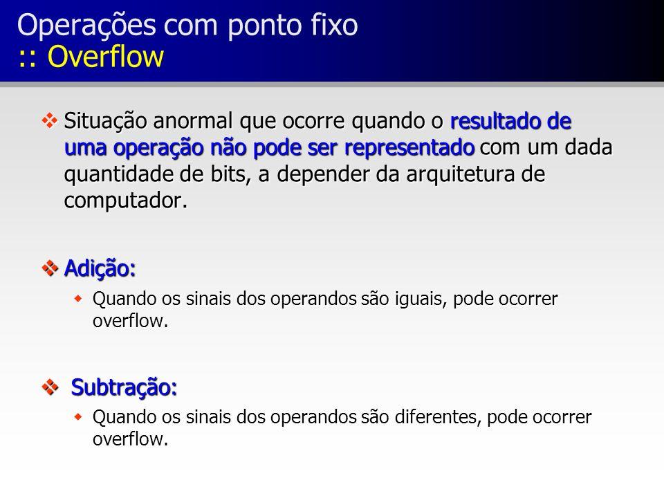 Operações com ponto fixo :: Overflow vSituação anormal que ocorre quando o resultado de uma operação não pode ser representado com um dada quantidade