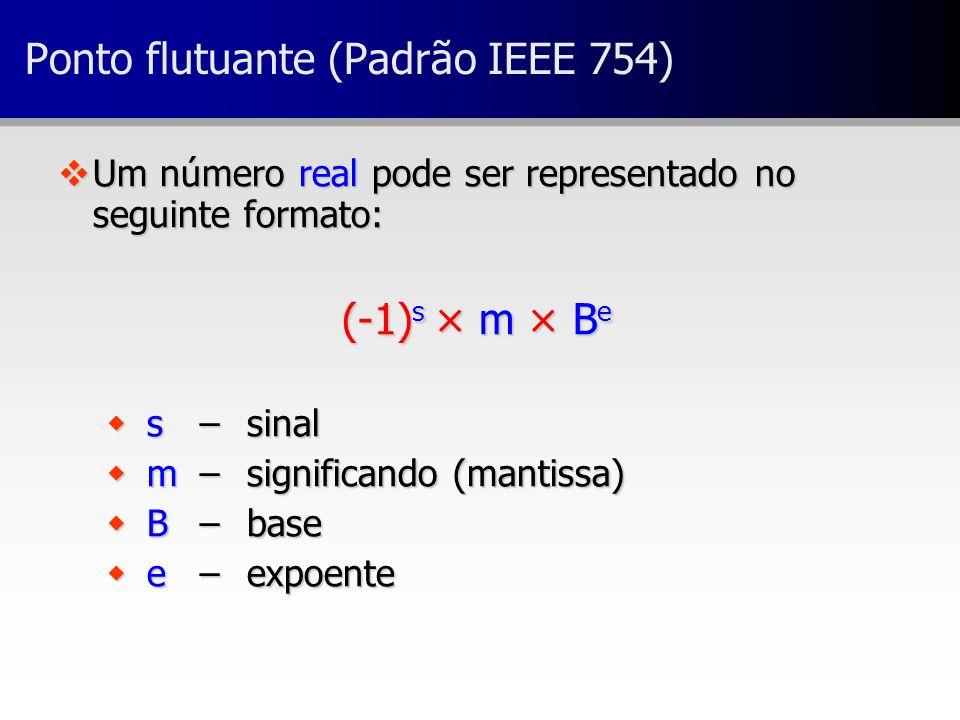 vUm número real pode ser representado no seguinte formato: (-1) s × m × B e w s – sinal w m – significando (mantissa) w B – base w e – expoente Ponto