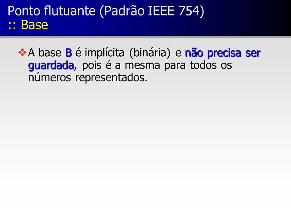 vA base B é implícita (binária) e não precisa ser guardada, pois é a mesma para todos os números representados. Ponto flutuante (Padrão IEEE 754) :: B