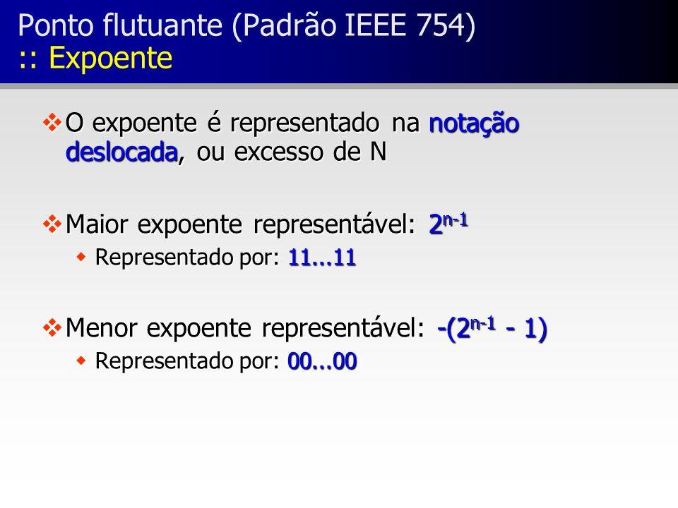 vO expoente é representado na notação deslocada, ou excesso de N vMaior expoente representável: 2 n-1 wRepresentado por: 11...11 vMenor expoente repre