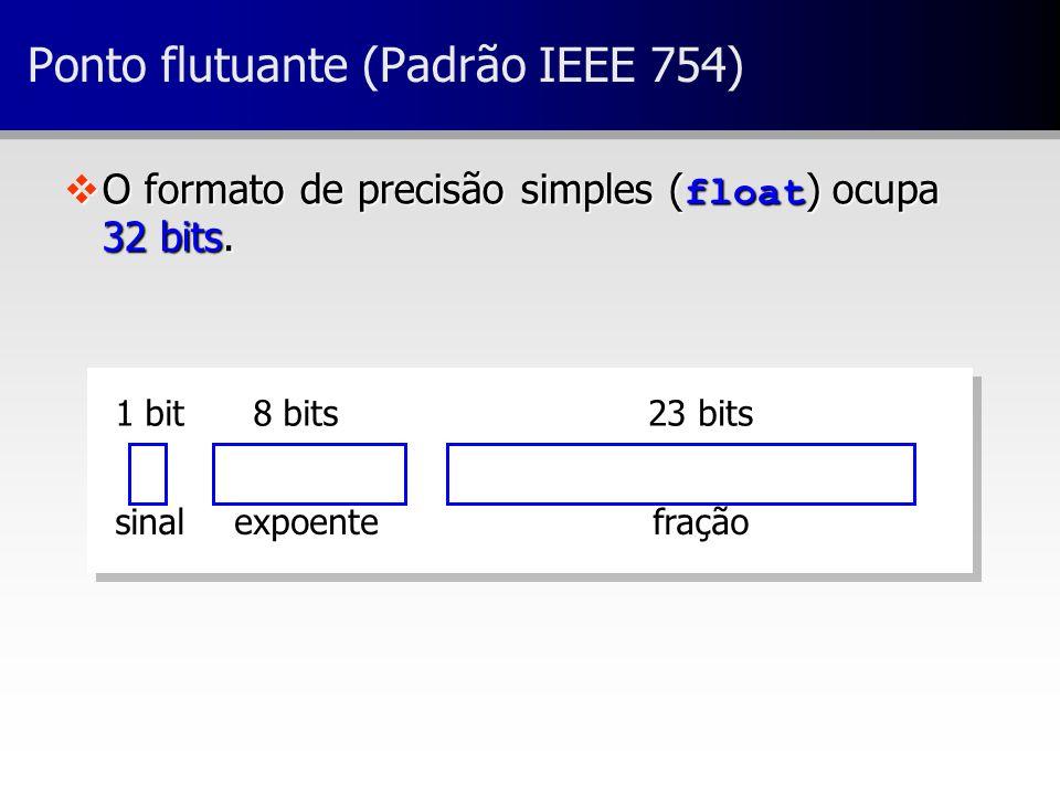 23 bits8 bits1 bit fraçãoexpoentesinal Ponto flutuante (Padrão IEEE 754) O formato de precisão simples ( float ) ocupa 32 bits. O formato de precisão