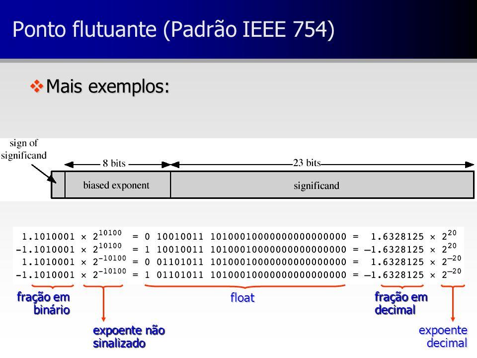 vMais exemplos: Ponto flutuante (Padrão IEEE 754) fração em binário expoente não sinalizado float fração em decimal expoente decimal