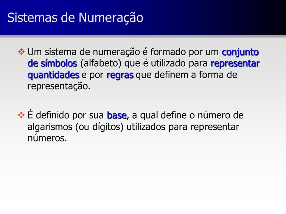 Sistemas de Numeração vUm sistema de numeração é formado por um conjunto de símbolos (alfabeto) que é utilizado para representar quantidades e por reg
