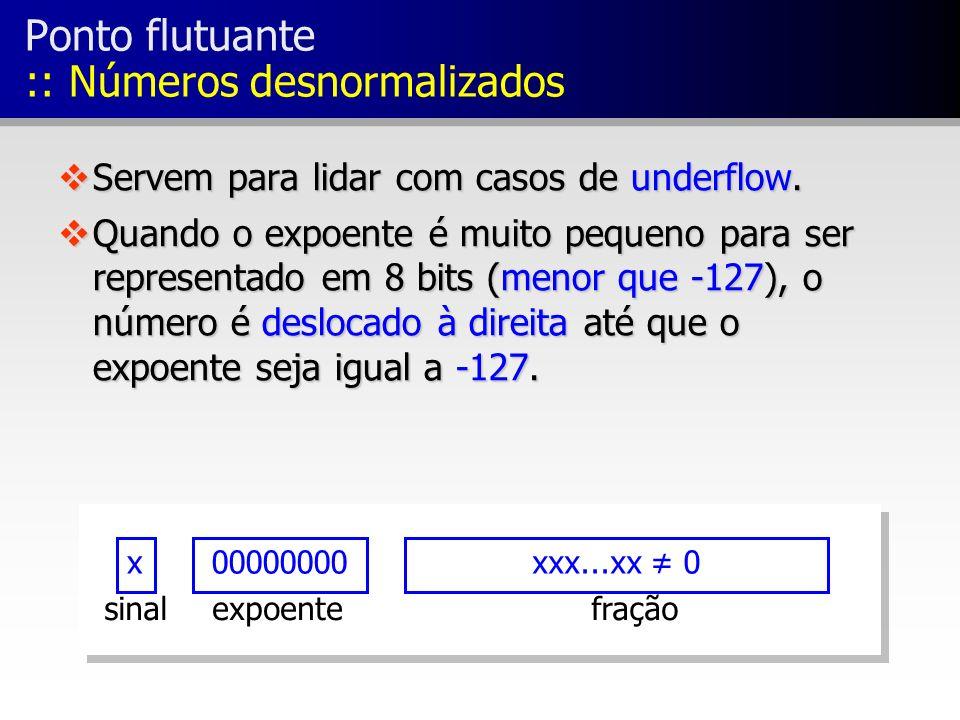 x00000000xxx...xx 0 fraçãoexpoentesinal Ponto flutuante :: Números desnormalizados vServem para lidar com casos de underflow. vQuando o expoente é mui