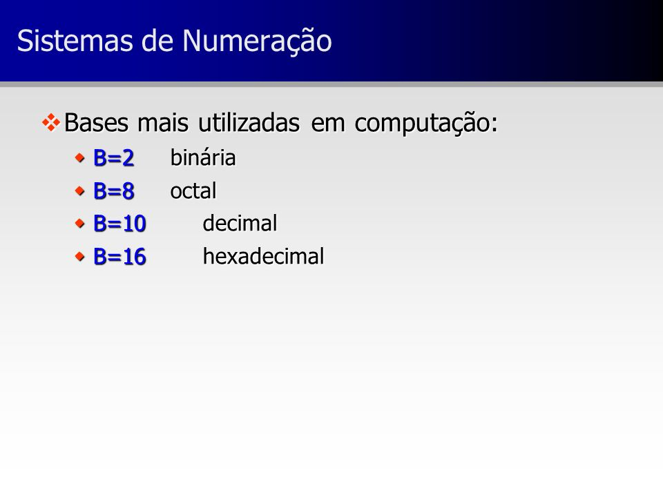 Sistemas de Numeração vBases mais utilizadas em computação: wB=2binária wB=8octal wB=10decimal wB=16hexadecimal