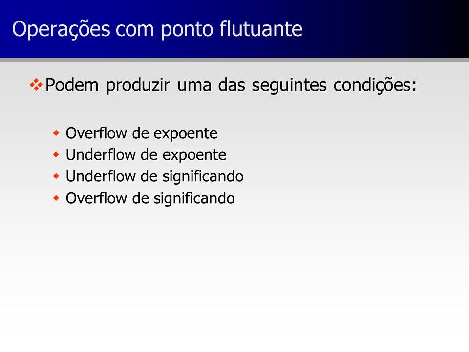 vPodem produzir uma das seguintes condições: wOverflow de expoente wUnderflow de expoente wUnderflow de significando wOverflow de significando Operaçõ