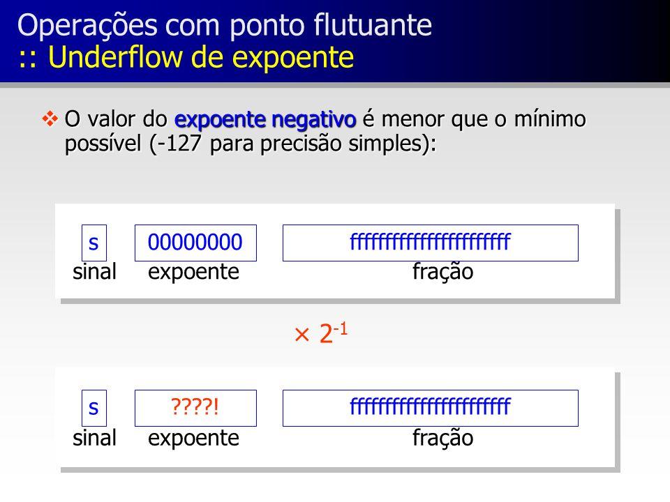 vO valor do expoente negativo é menor que o mínimo possível (-127 para precisão simples): s00000000fffffffffffffffffffffff fraçãoexpoentesinal × 2 -1