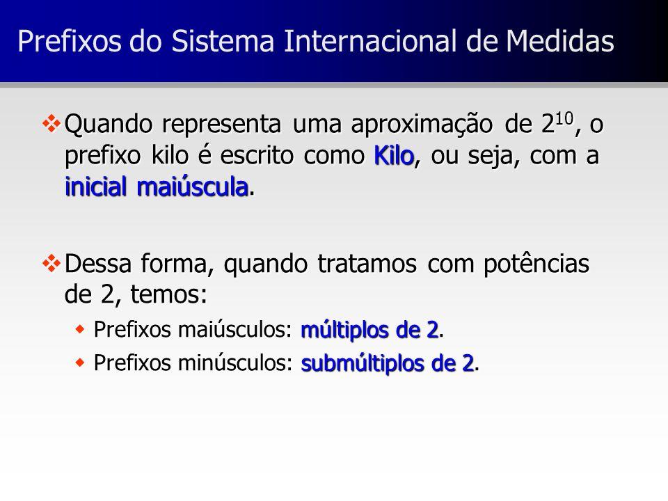 Prefixos do Sistema Internacional de Medidas vQuando representa uma aproximação de 2 10, o prefixo kilo é escrito como Kilo, ou seja, com a inicial ma