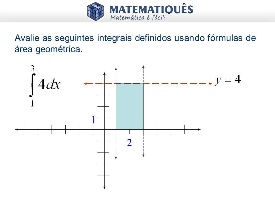 Avalie as seguintes integrais definidos usando fórmulas de área geométrica.
