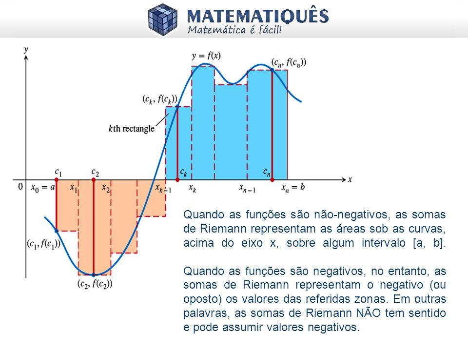 Quando as funções são não-negativos, as somas de Riemann representam as áreas sob as curvas, acima do eixo x, sobre algum intervalo [a, b]. Quando as