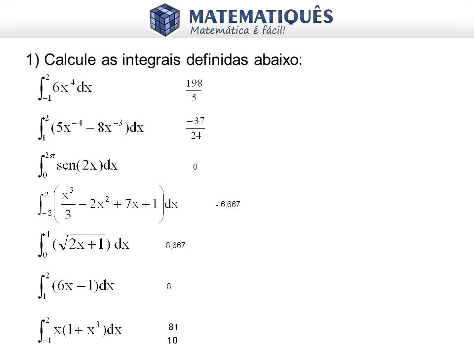1) Calcule as integrais definidas abaixo: - 6,667 8,667 8 0