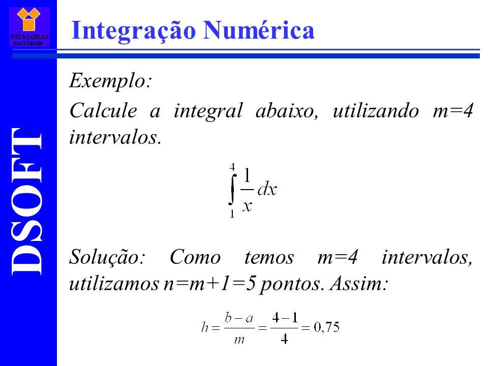 DSOFT Integração Numérica Exemplo: Calcule a integral abaixo, utilizando m=4 intervalos.