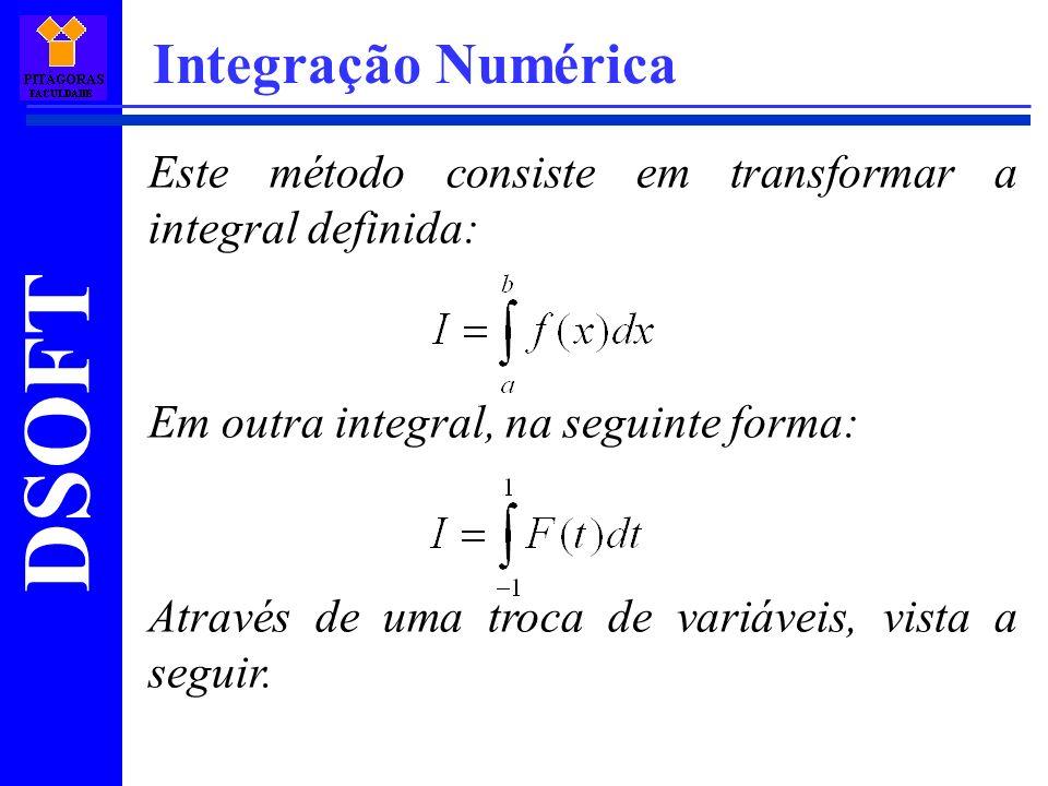 DSOFT Integração Numérica Este método consiste em transformar a integral definida: Em outra integral, na seguinte forma: Através de uma troca de variáveis, vista a seguir.