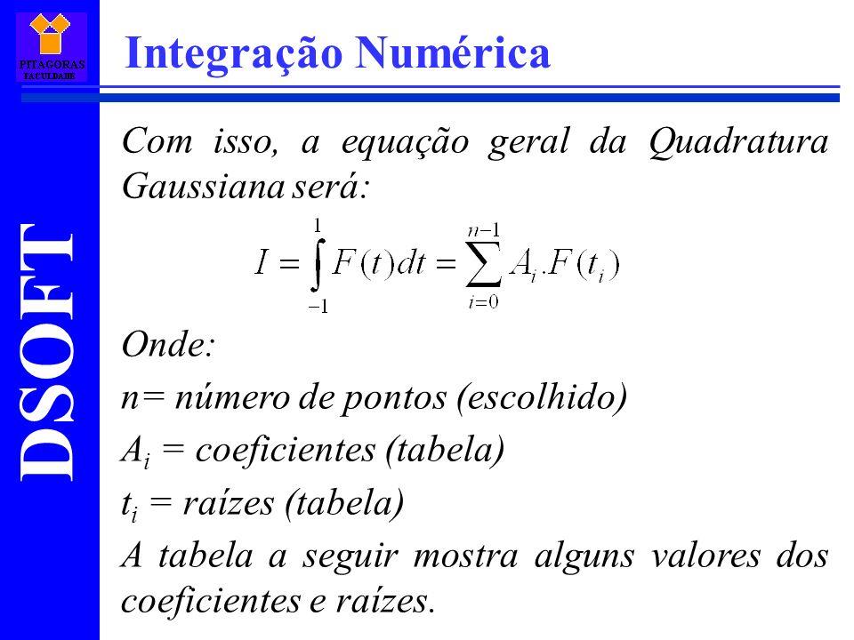 DSOFT Integração Numérica Com isso, a equação geral da Quadratura Gaussiana será: Onde: n= número de pontos (escolhido) A i = coeficientes (tabela) t i = raízes (tabela) A tabela a seguir mostra alguns valores dos coeficientes e raízes.