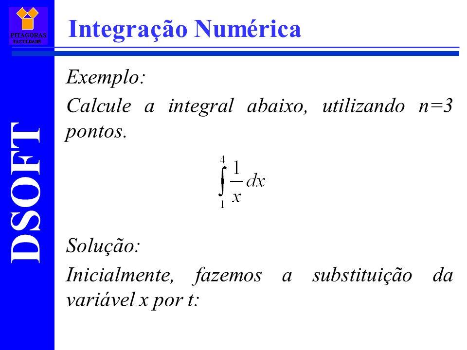 DSOFT Integração Numérica Exemplo: Calcule a integral abaixo, utilizando n=3 pontos.