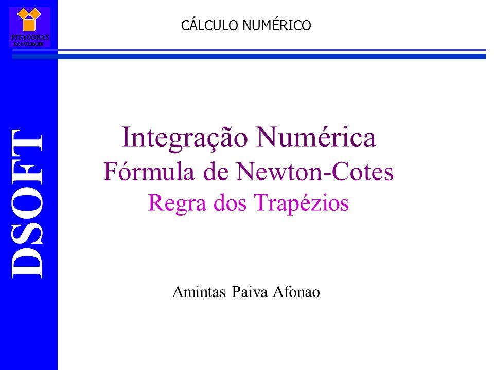 DSOFT Integração Numérica Fórmula de Newton-Cotes Regra dos Trapézios Amintas Paiva Afonao CÁLCULO NUMÉRICO