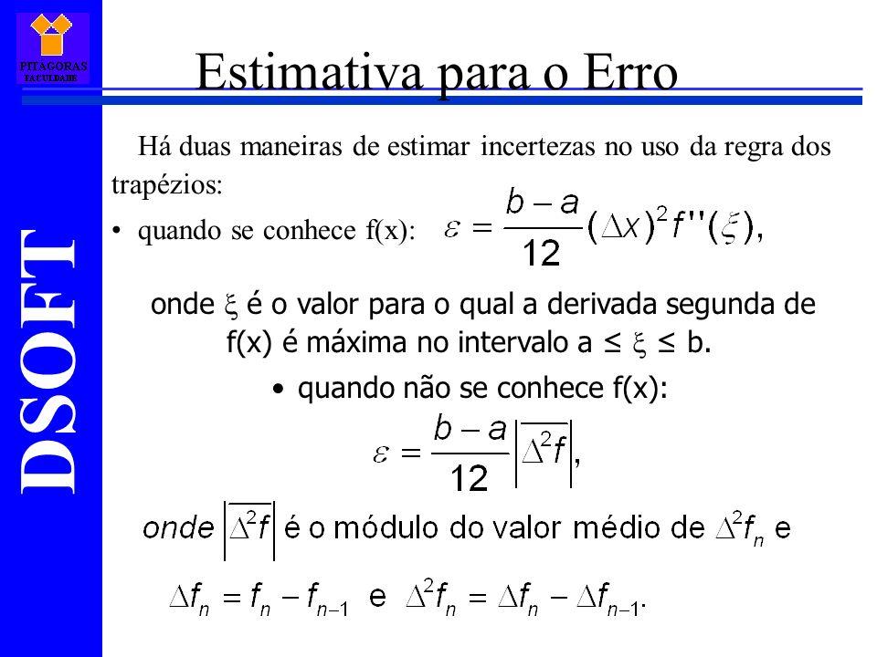 DSOFT Estimativa para o Erro Há duas maneiras de estimar incertezas no uso da regra dos trapézios: quando se conhece f(x): onde é o valor para o qual a derivada segunda de f(x) é máxima no intervalo a b.