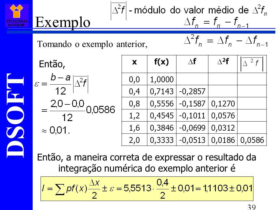 DSOFT 39 Exemplo Tomando o exemplo anterior, xf(x)f(x) f 2 f 0,01,0000 0,40,7143-0,2857 0,80,5556-0,15870,1270 1,20,4545-0,10110,0576 1,60,3846-0,06990,0312 2,00,3333-0,05130,01860,0586 Então, Então, a maneira correta de expressar o resultado da integração numérica do exemplo anterior é