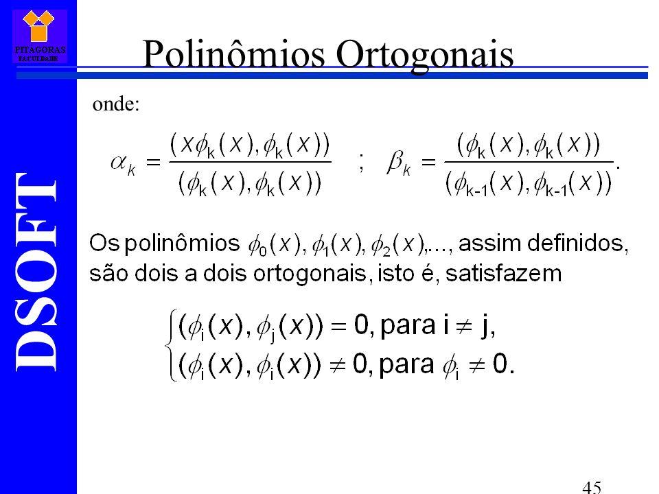 DSOFT 45 Polinômios Ortogonais onde: