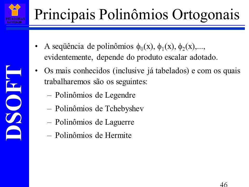 DSOFT 46 Principais Polinômios Ortogonais A seqüência de polinômios 0 (x), 1 (x), 2 (x),..., evidentemente, depende do produto escalar adotado.