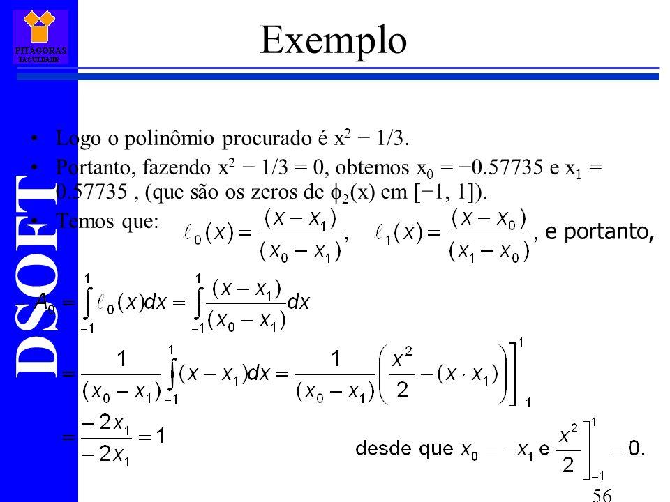 DSOFT 56 Exemplo Logo o polinômio procurado é x 2 1/3.
