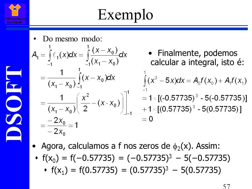 DSOFT 57 Do mesmo modo: Agora, calculamos a f nos zeros de 2 (x).