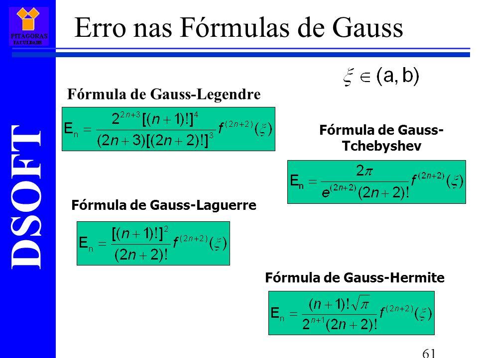 DSOFT 61 Fórmula de Gauss-Legendre Fórmula de Gauss- Tchebyshev Fórmula de Gauss-Laguerre Fórmula de Gauss-Hermite Erro nas Fórmulas de Gauss