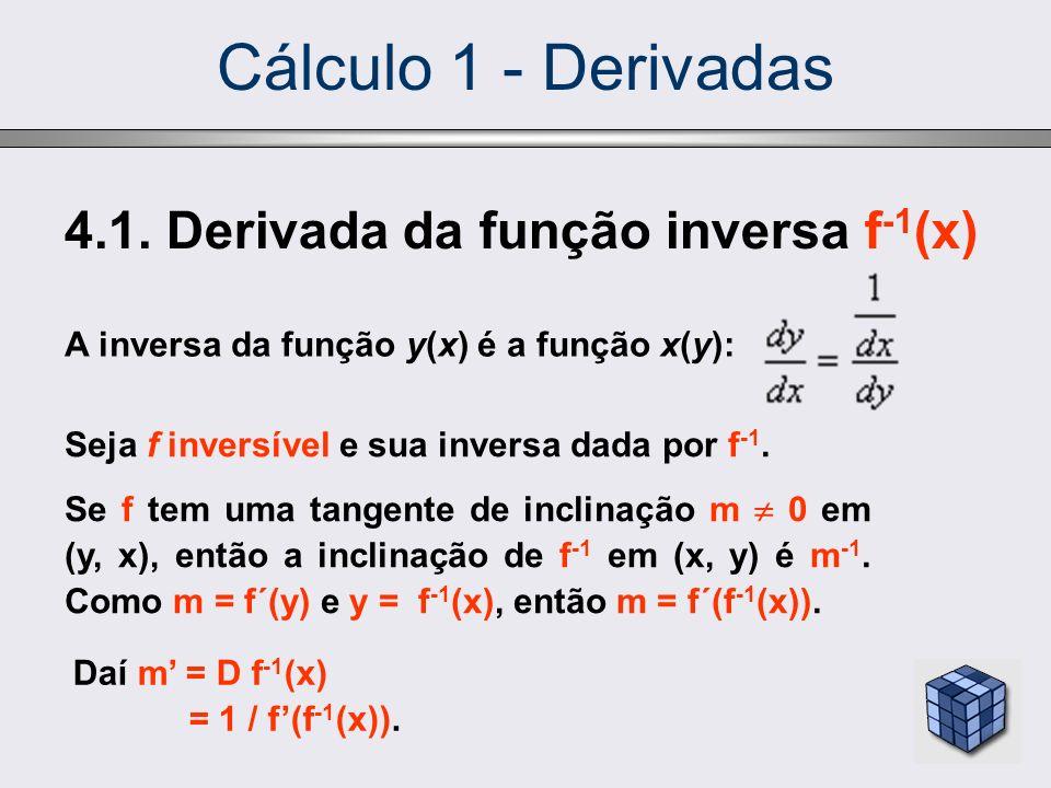 Cálculo 1 - Derivadas 4.1. Derivada da função inversa f -1 (x) Seja f inversível e sua inversa dada por f -1. Se f tem uma tangente de inclinação m 0