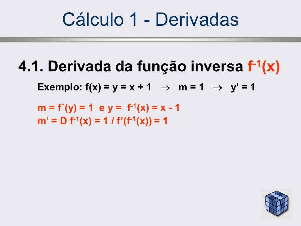 Cálculo 1 - Derivadas 4.1. Derivada da função inversa f -1 (x) Exemplo: f(x) = y = x + 1 m = 1 y = 1 m = f´(y) = 1 e y = f -1 (x) = x - 1 m = D f -1 (